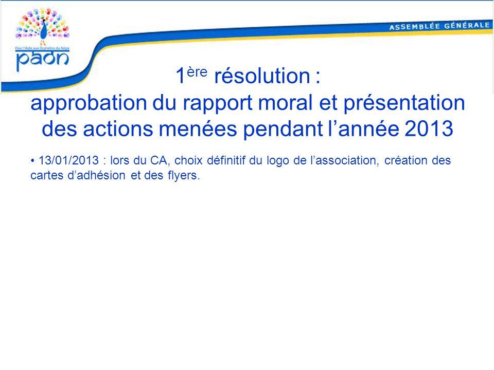 1 ère résolution : approbation du rapport moral et présentation des actions menées pendant lannée 2013 13/01/2013 : lors du CA, choix définitif du log