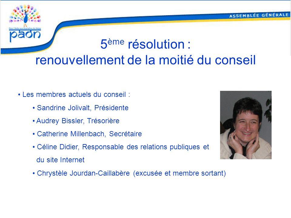 5 ème résolution : renouvellement de la moitié du conseil Les membres actuels du conseil : Sandrine Jolivalt, Présidente Audrey Bissler, Trésorière Ca
