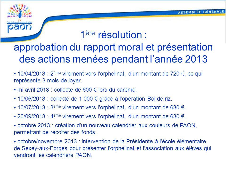 1 ère résolution : approbation du rapport moral et présentation des actions menées pendant lannée 2013 10/04/2013 : 2 ème virement vers lorphelinat, d