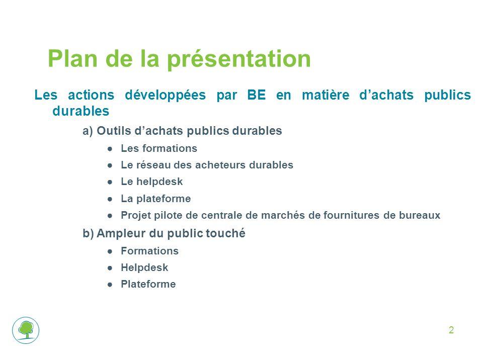 2 Plan de la présentation Les actions développées par BE en matière dachats publics durables a)Outils dachats publics durables Les formations Le résea