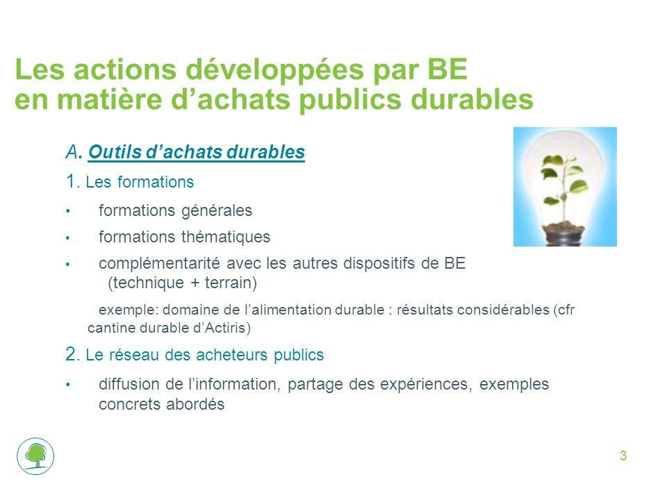 3 Les actions développées par BE en matière dachats publics durables A. Outils dachats durables 1. Les formations formations générales formations thém