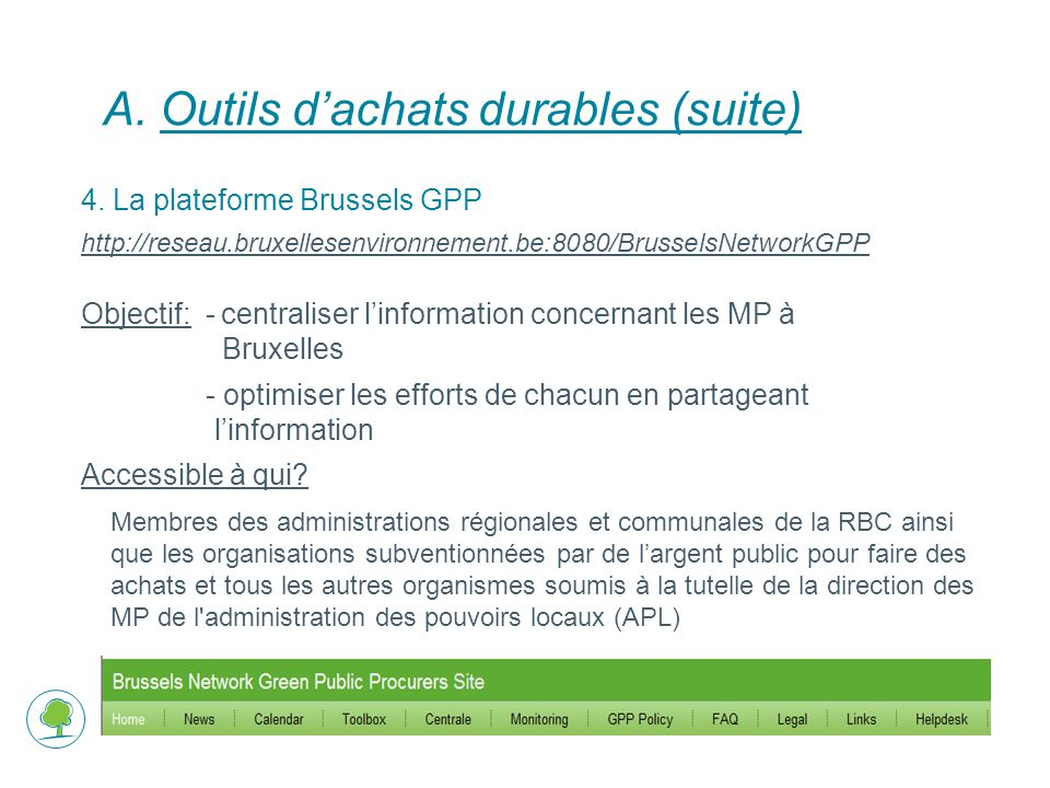 A.Outils dachats durables (suite) 4.