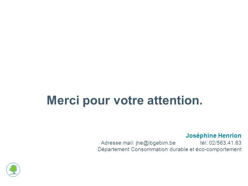 Merci pour votre attention. Joséphine Henrion Adresse mail: jhe@ibgebim.betél: 02/563.41.63 Département Consommation durable et éco-comportement