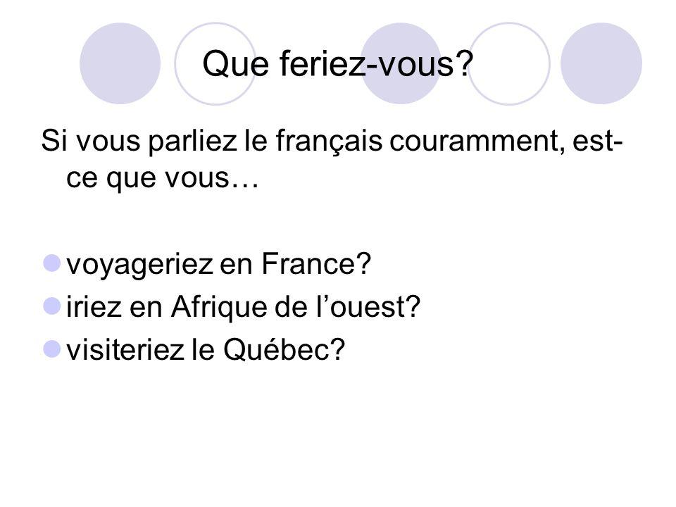 Que feriez-vous? Si vous parliez le français couramment, est- ce que vous… voyageriez en France? iriez en Afrique de louest? visiteriez le Québec?