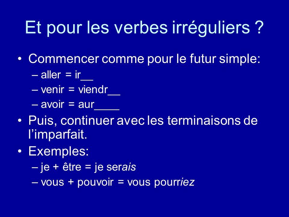 A vous … Mettez les verbes au conditionnel –dire: je –parler: tu –applaudir: il –vendre: nous –travailler: vous –maigrir: ils