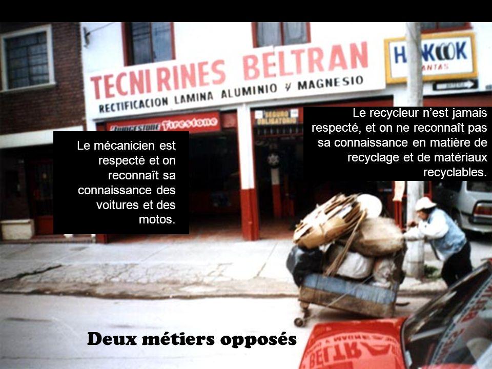 Deux métiers opposés Le mécanicien est respecté et on reconnaît sa connaissance des voitures et des motos.