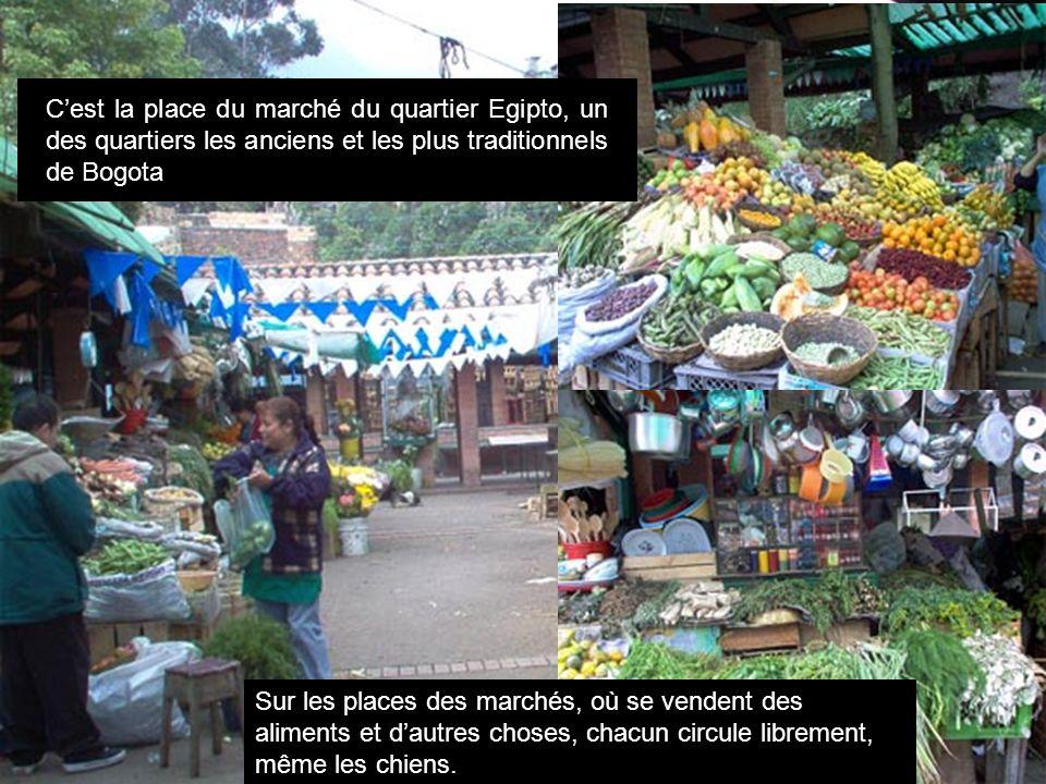 Cest la place du marché du quartier Egipto, un des quartiers les anciens et les plus traditionnels de Bogota Sur les places des marchés, où se vendent des aliments et dautres choses, chacun circule librement, même les chiens.