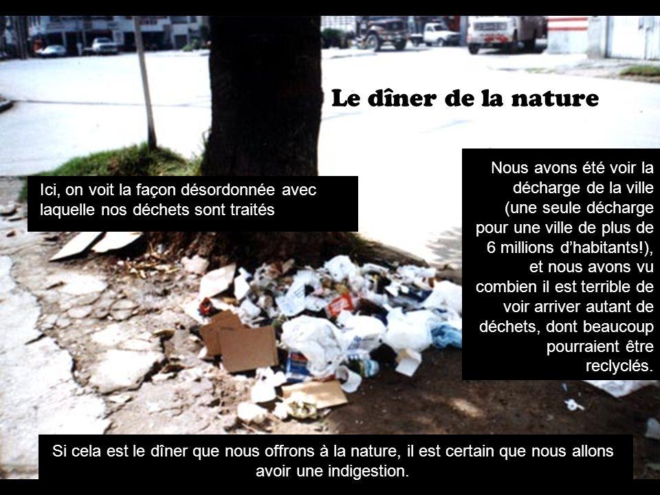 Le dîner de la nature Ici, on voit la façon désordonnée avec laquelle nos déchets sont traités Nous avons été voir la décharge de la ville (une seule décharge pour une ville de plus de 6 millions dhabitants!), et nous avons vu combien il est terrible de voir arriver autant de déchets, dont beaucoup pourraient être reclyclés.