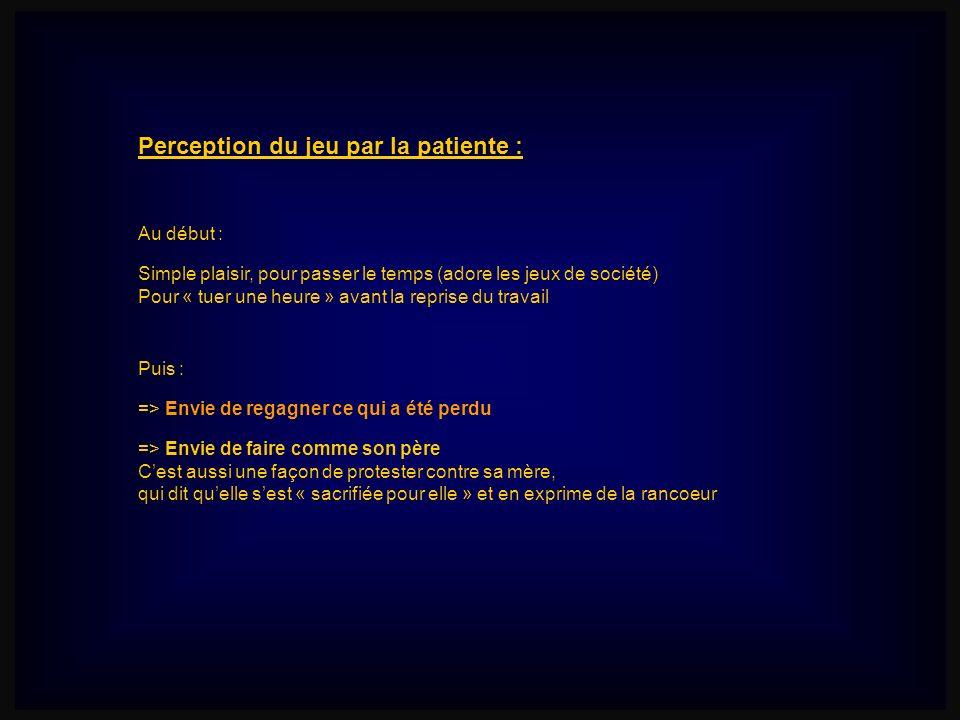 Perception du jeu par la patiente : Simple plaisir, pour passer le temps (adore les jeux de société) Pour « tuer une heure » avant la reprise du trava