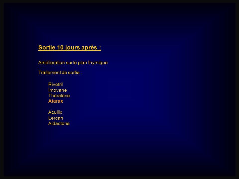 Sortie 10 jours après : Amélioration sur le plan thymique Traitement de sortie : Rivotril Imovane Théralène Atarax Acuilix Lercan Aldactone
