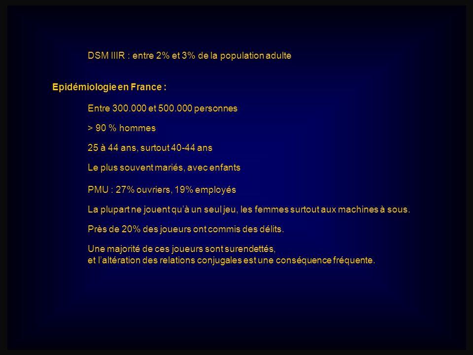 Epidémiologie en France : Entre 300.000 et 500.000 personnes > 90 % hommes 25 à 44 ans, surtout 40-44 ans Le plus souvent mariés, avec enfants Une maj