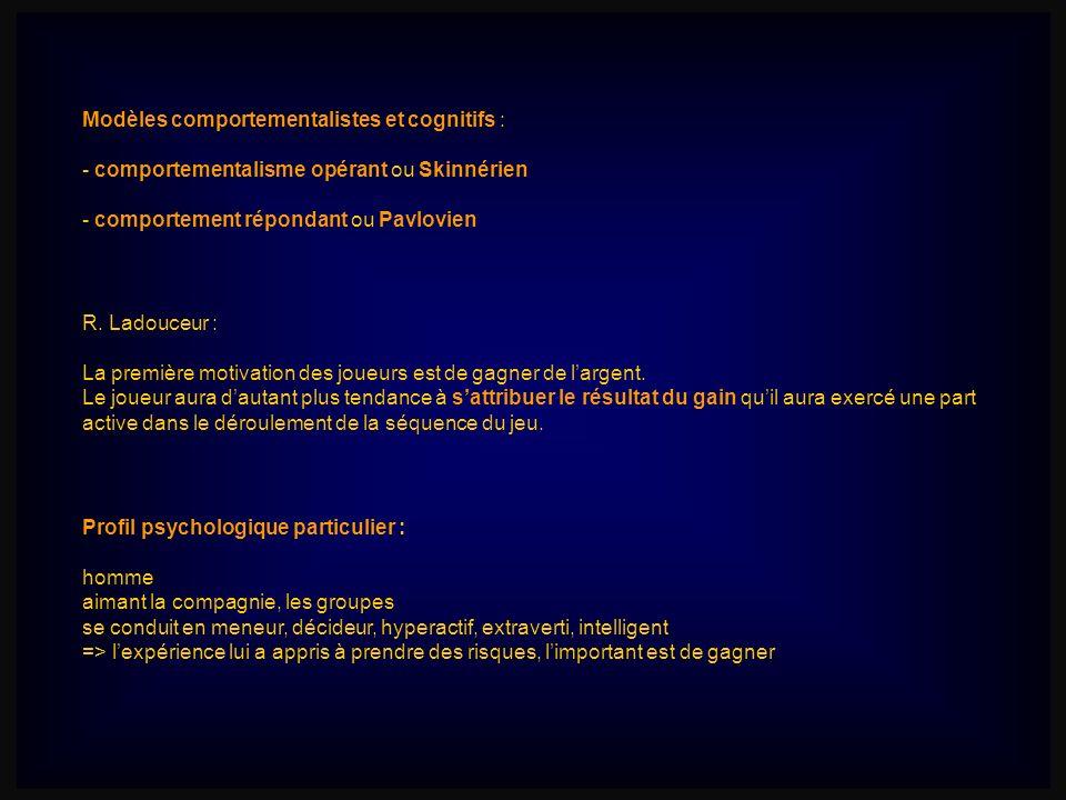 Modèles comportementalistes et cognitifs : - comportementalisme opérant ou Skinnérien - comportement répondant ou Pavlovien R. Ladouceur : La première