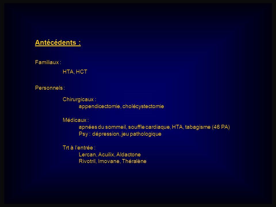 Antécédents : Familiaux : Chirurgicaux : Personnels : HTA, HCT appendicectomie, cholécystectomie Médicaux : apnées du sommeil, souffle cardiaque, HTA,