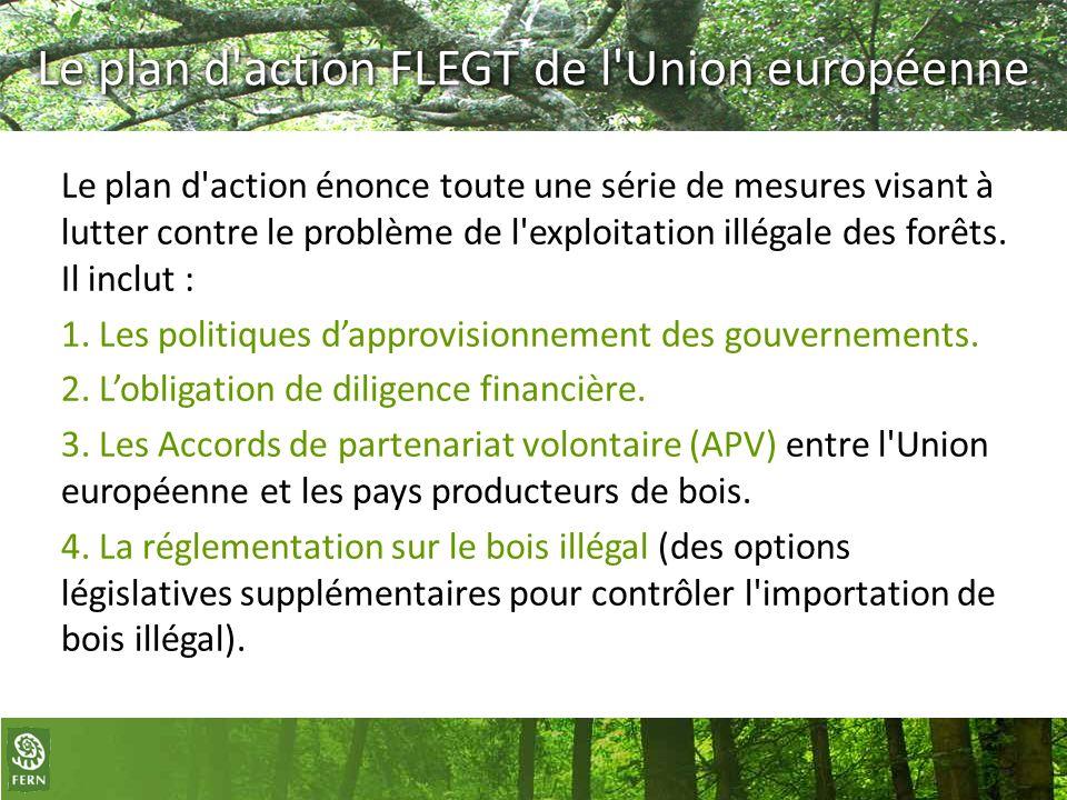 Le plan d'action FLEGT de l'Union européenne Le plan d'action énonce toute une série de mesures visant à lutter contre le problème de l'exploitation i