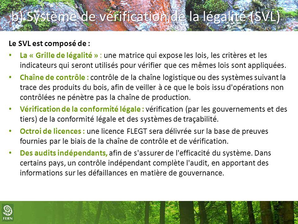 b) Système de vérification de la légalité (SVL) Le SVL est composé de : La « Grille de légalité » : une matrice qui expose les lois, les critères et l