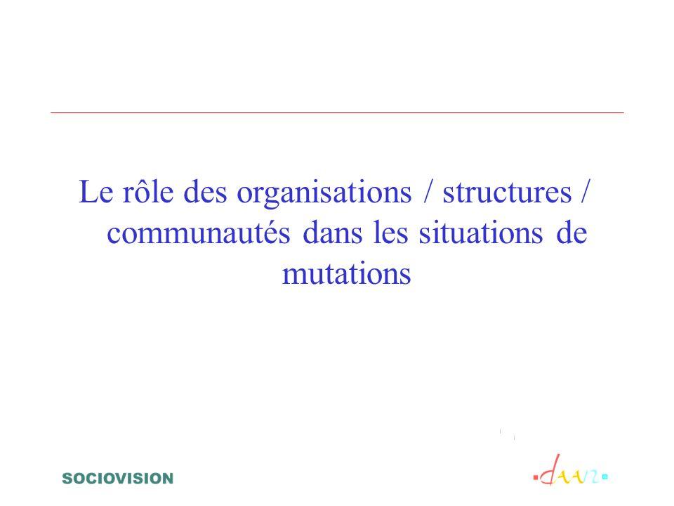 Le rôle des organisations / structures / communautés dans les situations de mutations