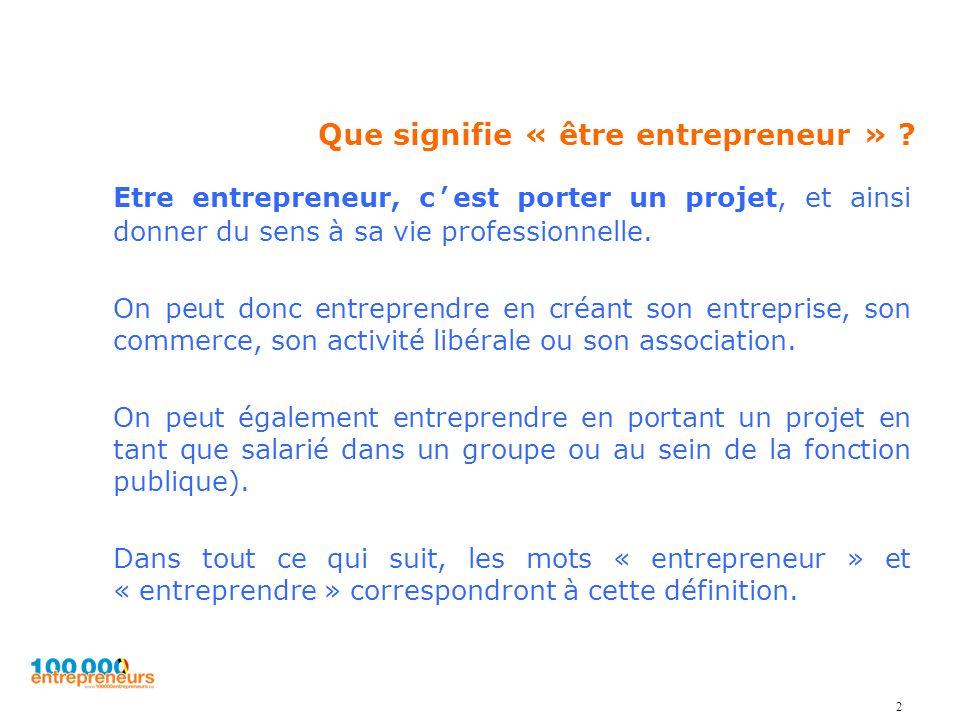 Que signifie « être entrepreneur » ? Etre entrepreneur, cest porter un projet, et ainsi donner du sens à sa vie professionnelle. On peut donc entrepre