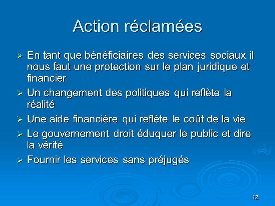 12 Action réclamées En tant que bénéficiaires des services sociaux il nous faut une protection sur le plan juridique et financier En tant que bénéfici
