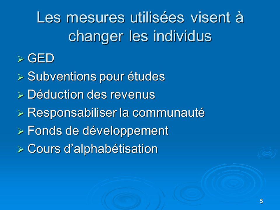 5 Les mesures utilisées visent à changer les individus GED GED Subventions pour études Subventions pour études Déduction des revenus Déduction des rev