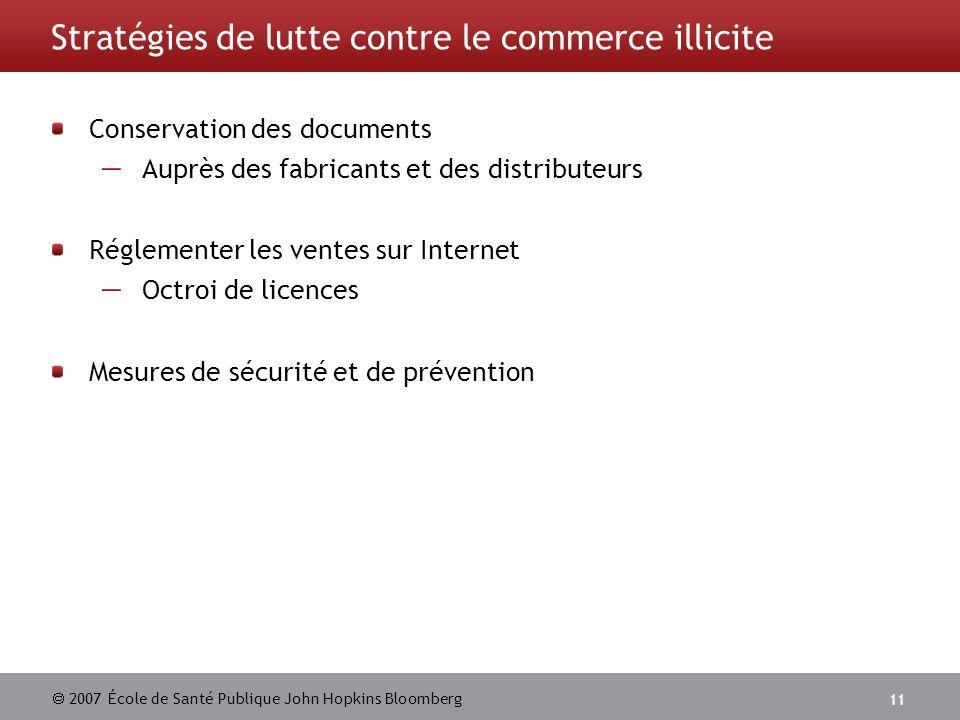 2007 École de Santé Publique John Hopkins Bloomberg 11 Stratégies de lutte contre le commerce illicite Conservation des documents Auprès des fabricants et des distributeurs Réglementer les ventes sur Internet Octroi de licences Mesures de sécurité et de prévention