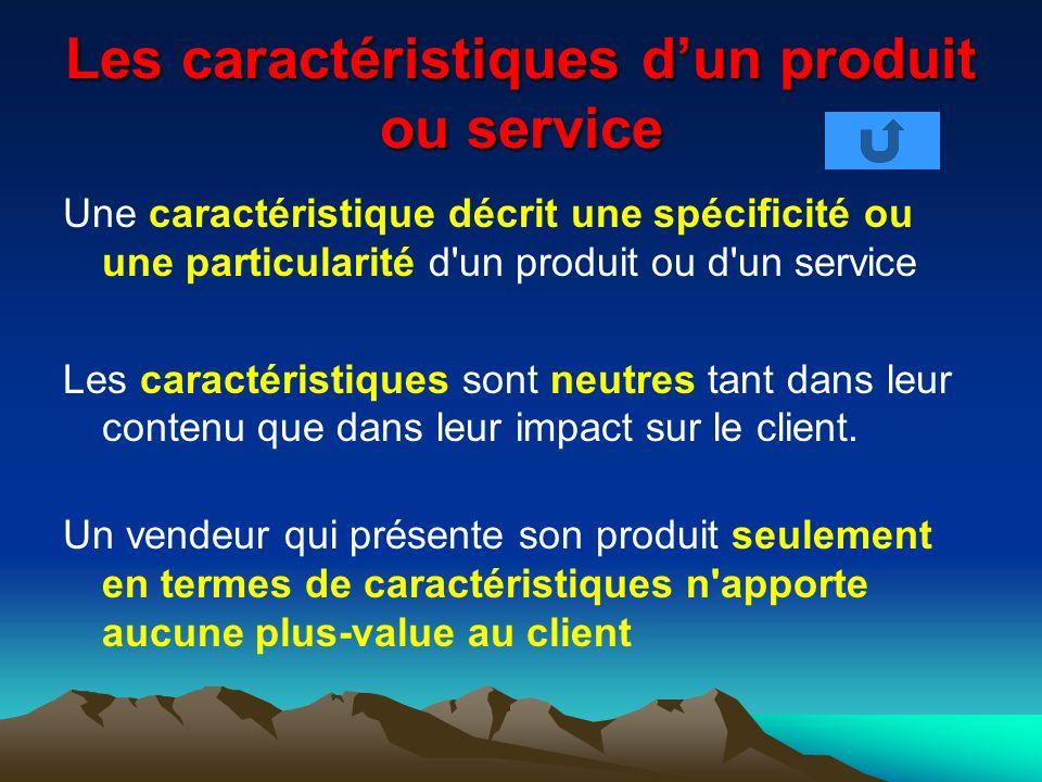 Les caractéristiques dun produit ou service Une caractéristique décrit une spécificité ou une particularité d'un produit ou d'un service Les caractéri