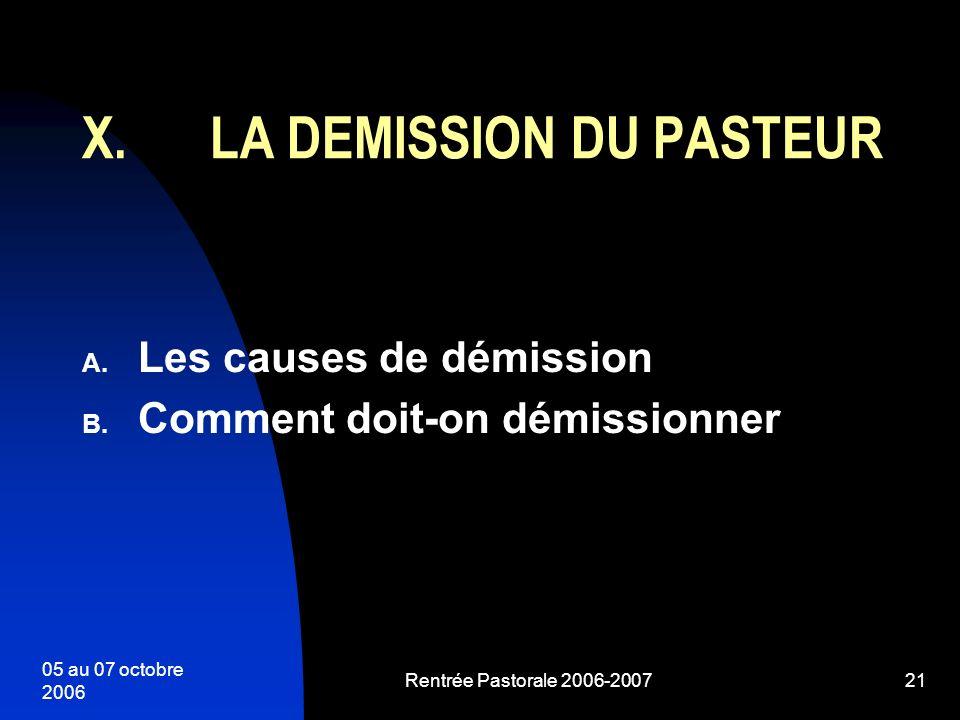05 au 07 octobre 2006 Rentrée Pastorale 2006-200721 A. Les causes de démission B. Comment doit-on démissionner X.LA DEMISSION DU PASTEUR
