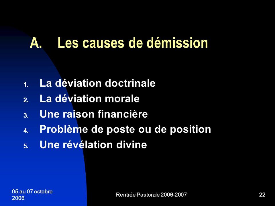 05 au 07 octobre 2006 Rentrée Pastorale 2006-200722 1. La déviation doctrinale 2. La déviation morale 3. Une raison financière 4. Problème de poste ou