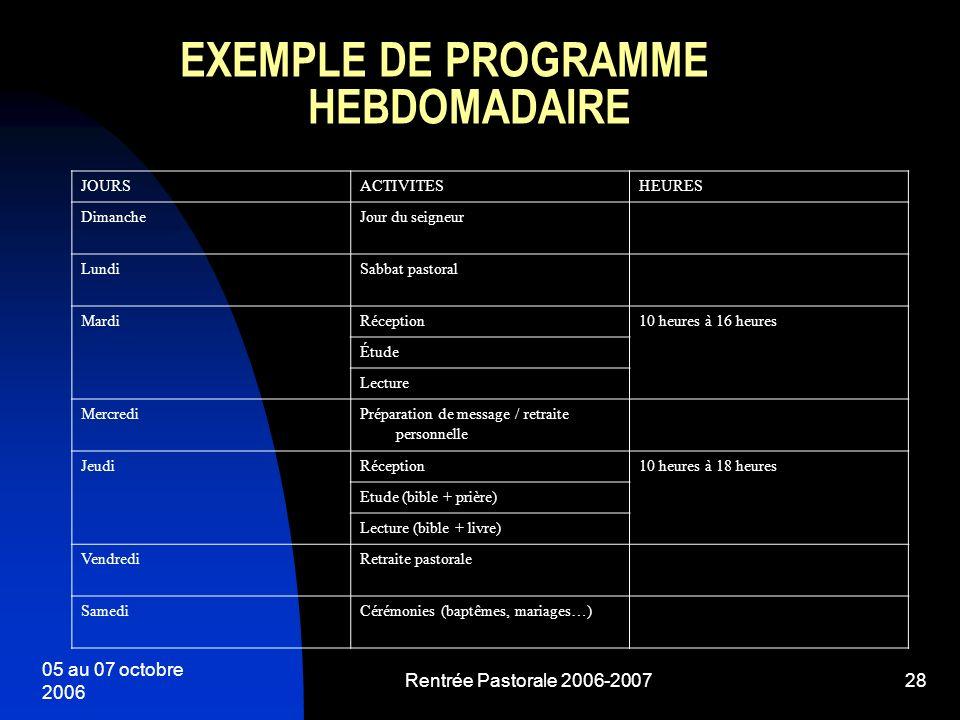 05 au 07 octobre 2006 Rentrée Pastorale 2006-200728 EXEMPLE DE PROGRAMME HEBDOMADAIRE JOURSACTIVITESHEURES DimancheJour du seigneur LundiSabbat pastor