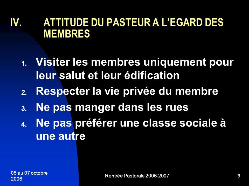 05 au 07 octobre 2006 Rentrée Pastorale 2006-20079 1. Visiter les membres uniquement pour leur salut et leur édification 2. Respecter la vie privée du