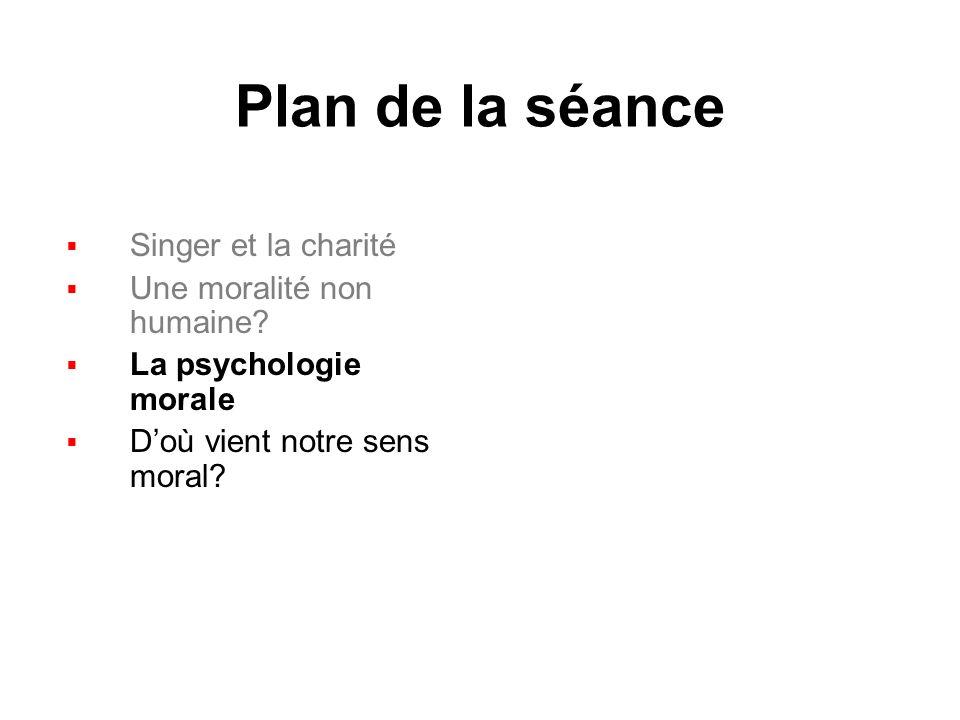 Plan de la séance Singer et la charité Une moralité non humaine.