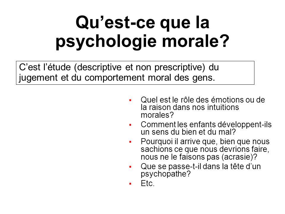 Quest-ce que la psychologie morale? Quel est le rôle des émotions ou de la raison dans nos intuitions morales? Comment les enfants développent-ils un