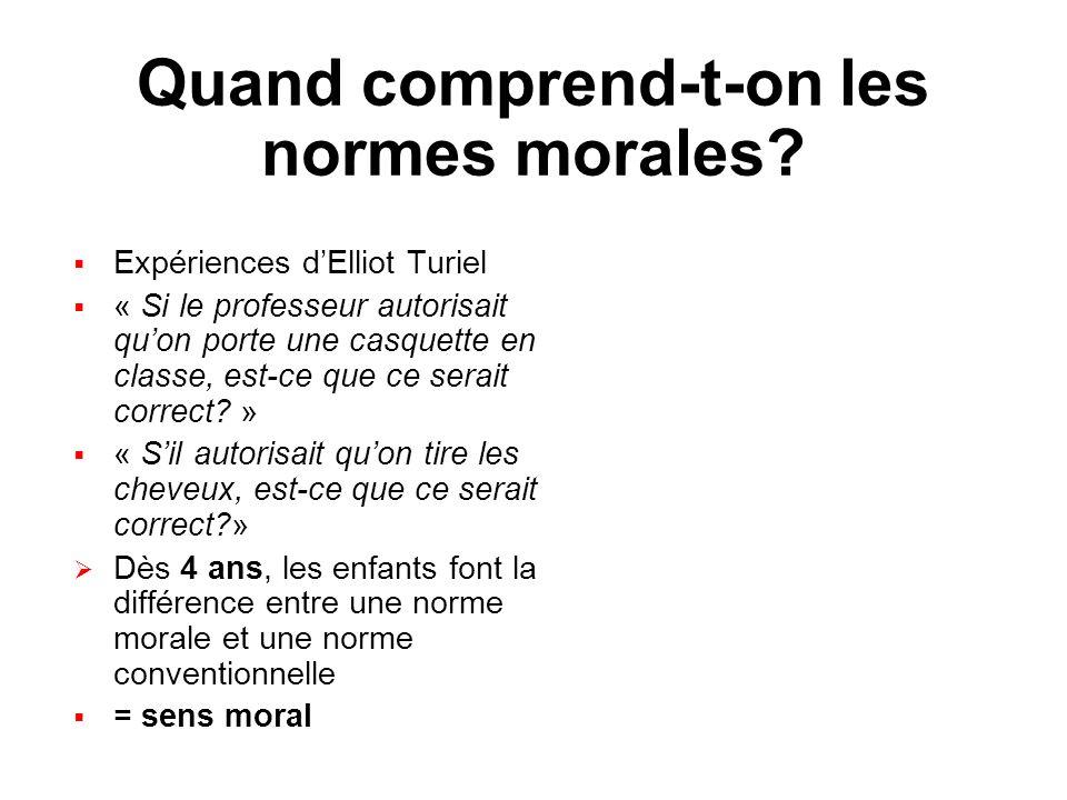 Quand comprend-t-on les normes morales? Expériences dElliot Turiel « Si le professeur autorisait quon porte une casquette en classe, est-ce que ce ser