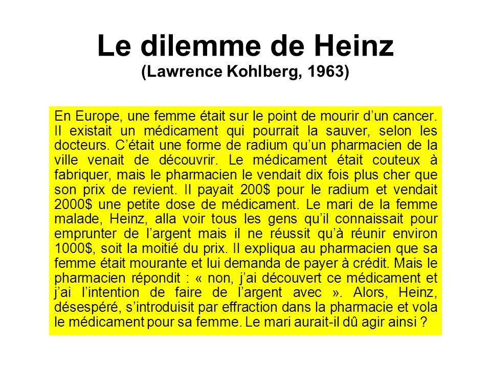 Le dilemme de Heinz (Lawrence Kohlberg, 1963) En Europe, une femme était sur le point de mourir dun cancer. Il existait un médicament qui pourrait la