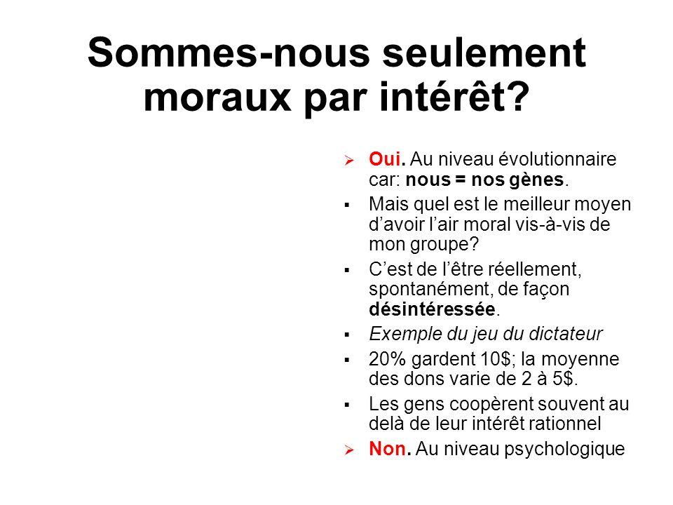 Sommes-nous seulement moraux par intérêt? Oui. Au niveau évolutionnaire car: nous = nos gènes. Mais quel est le meilleur moyen davoir lair moral vis-à