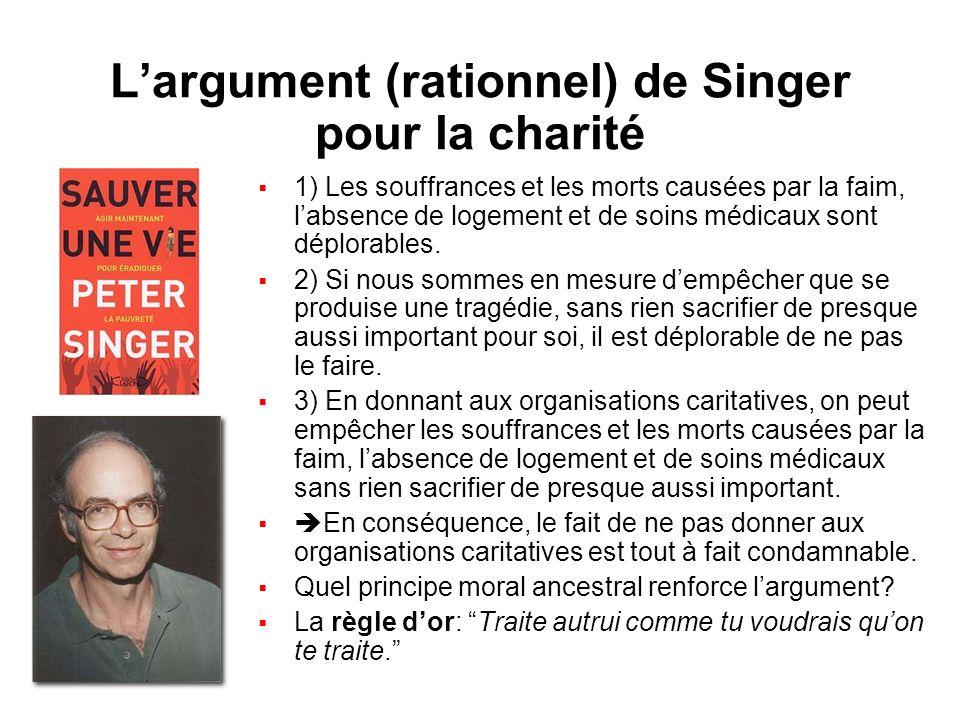 Largument (rationnel) de Singer pour la charité 1) Les souffrances et les morts causées par la faim, labsence de logement et de soins médicaux sont dé