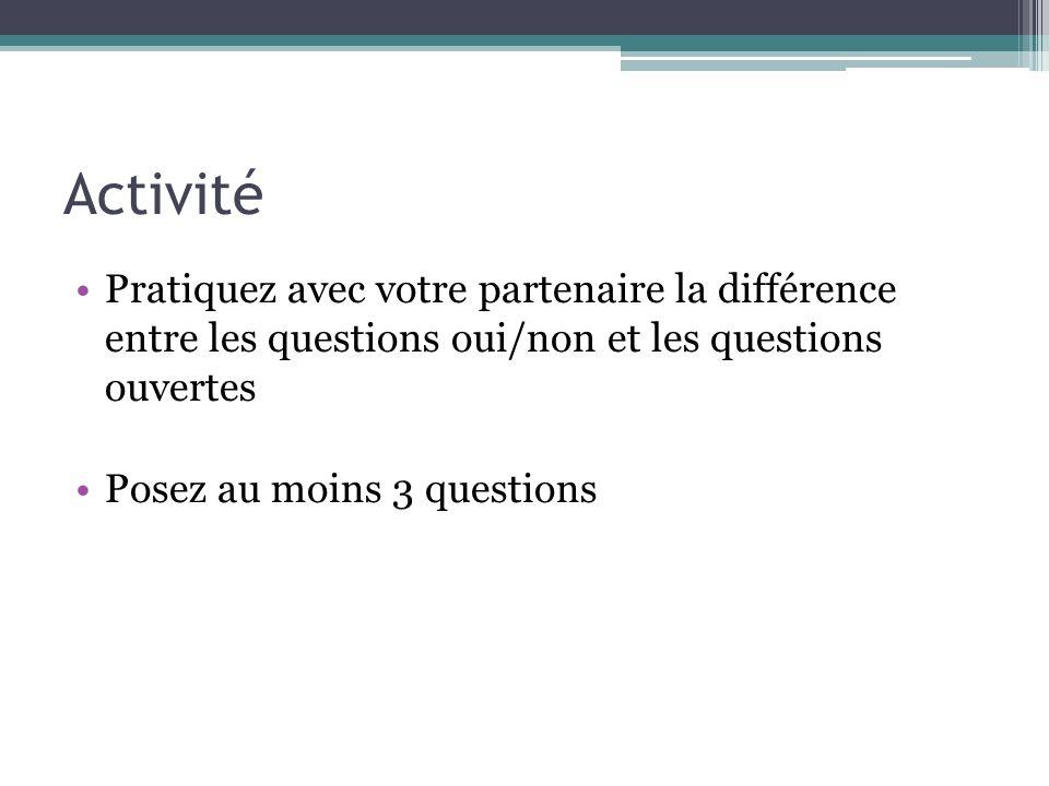Activité Pratiquez avec votre partenaire la différence entre les questions oui/non et les questions ouvertes Posez au moins 3 questions