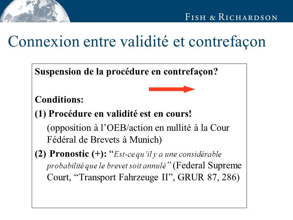 Connexion entre validité et contrefaçon Suspension de la procédure en contrefaçon.