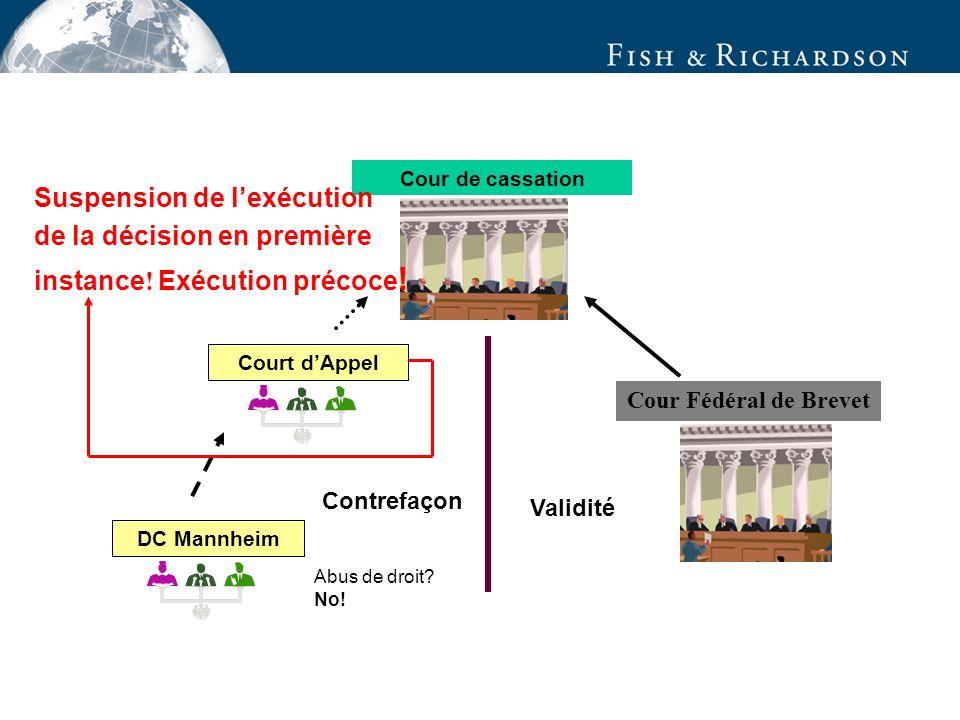 Contrefaçon DC Mannheim Court dAppel Cour Fédéral de Brevet Cour de cassation Validité Abus de droit.