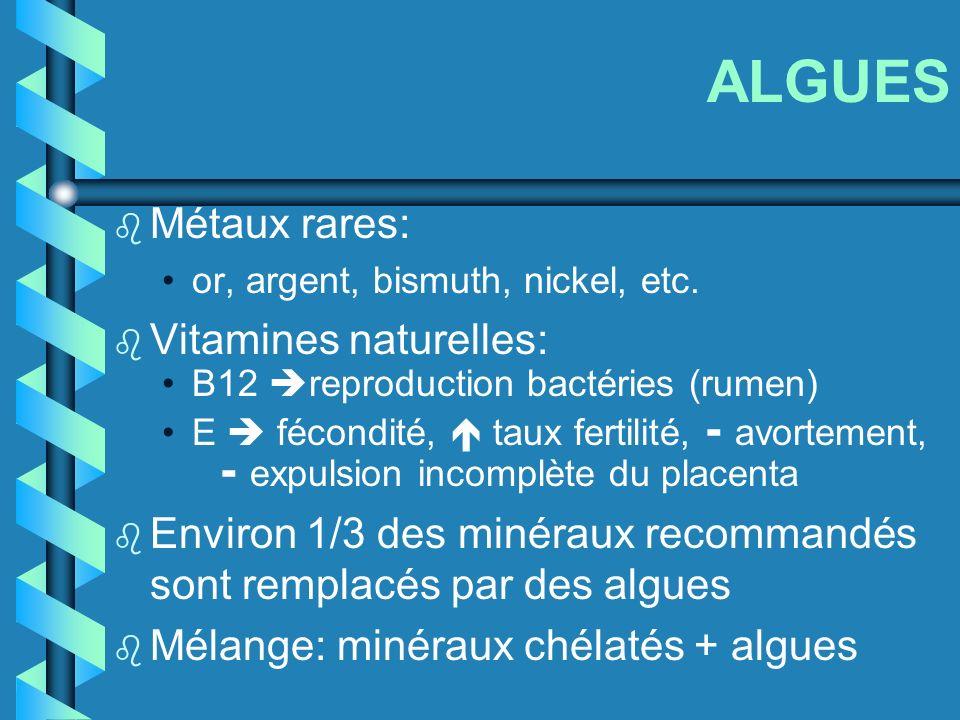 ALGUES b Métaux rares: or, argent, bismuth, nickel, etc. b Vitamines naturelles: B12 reproduction bactéries (rumen) E fécondité, taux fertilité, - avo