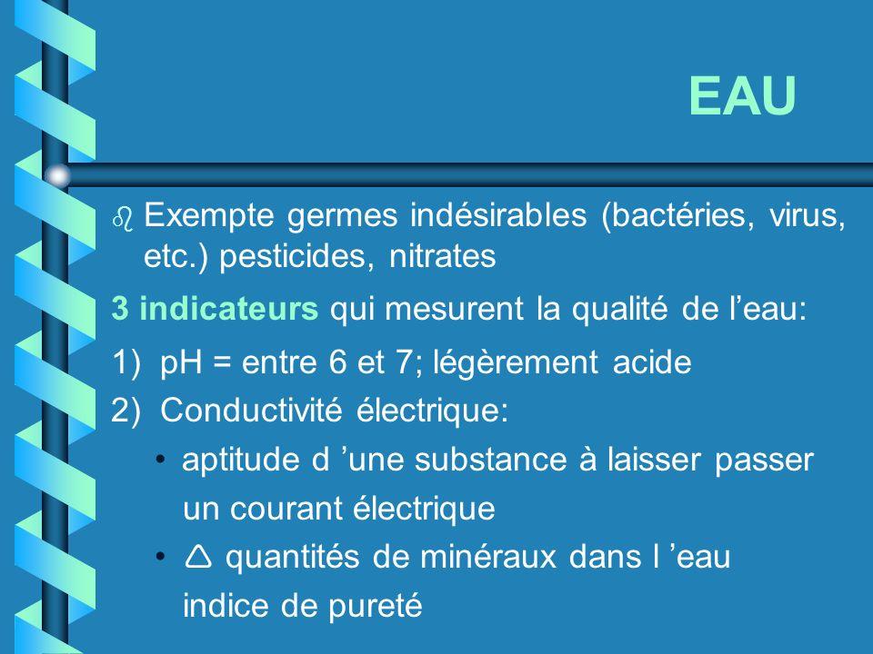 EAU b Exempte germes indésirables (bactéries, virus, etc.) pesticides, nitrates 3 indicateurs qui mesurent la qualité de leau: 1) pH = entre 6 et 7; l