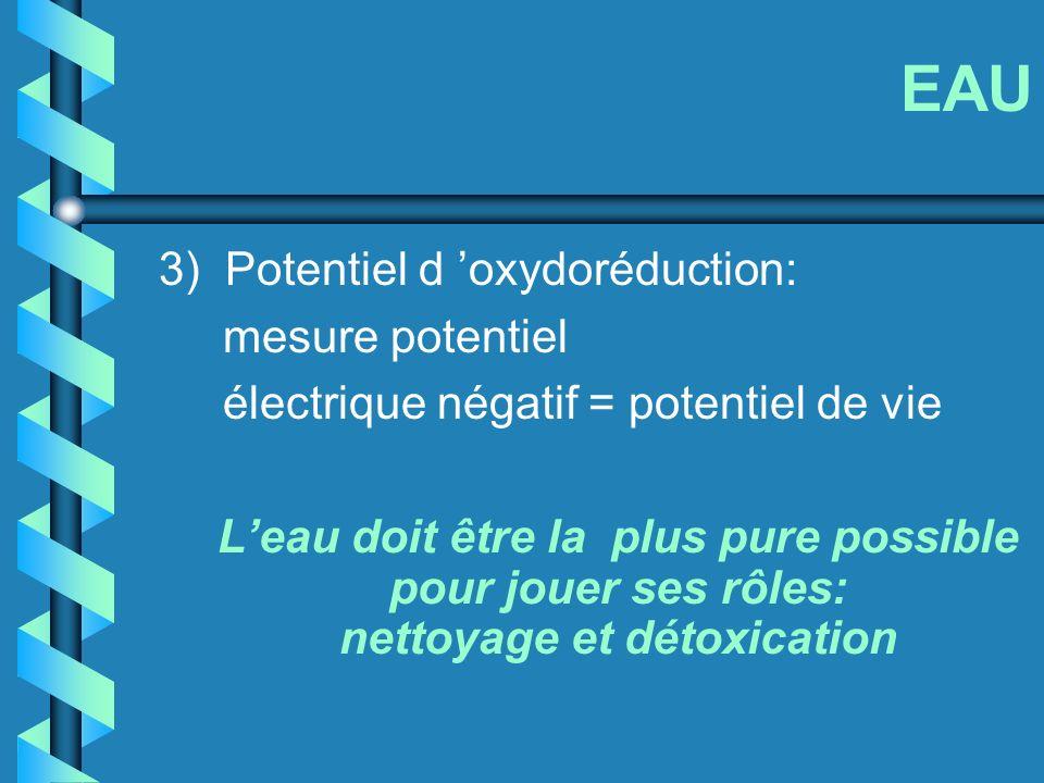 EAU 3) Potentiel d oxydoréduction: mesure potentiel électrique négatif = potentiel de vie Leau doit être la plus pure possible pour jouer ses rôles: n
