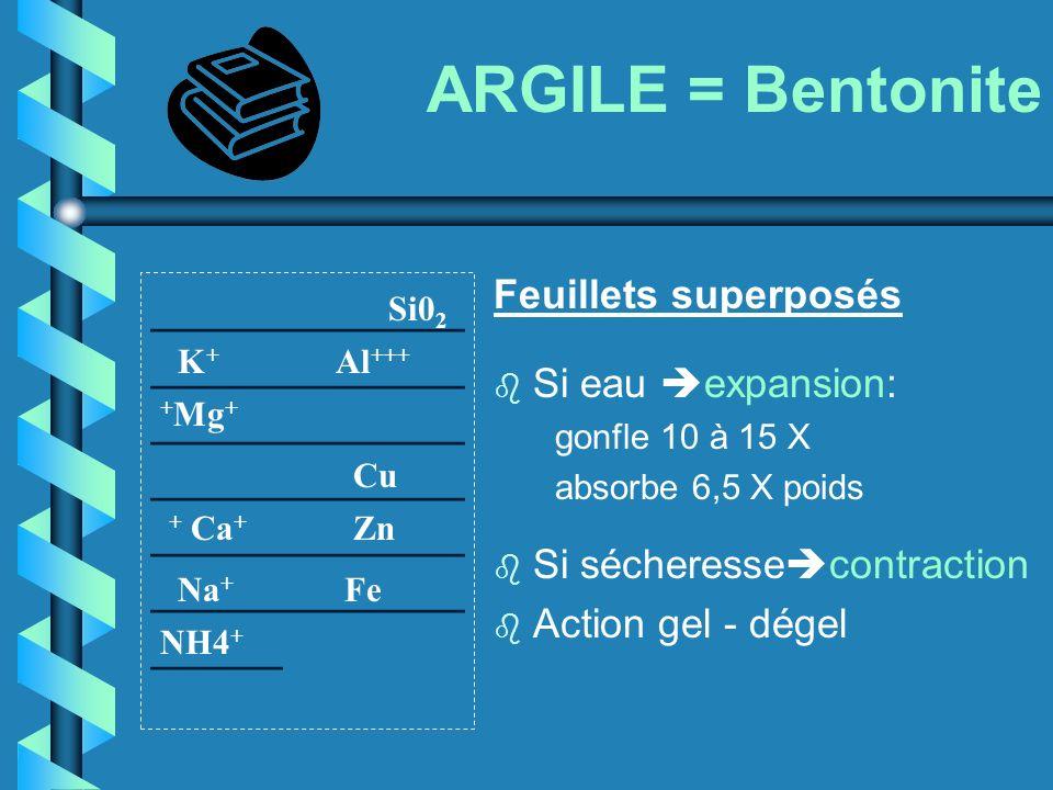 ARGILE = Bentonite ____________ ____________ ____________ ____________ ____________ ____________ _____ Feuillets superposés b Si eau expansion: gonfle