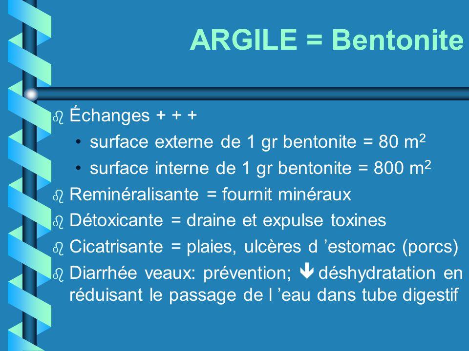 ARGILE = Bentonite b Échanges + + + surface externe de 1 gr bentonite = 80 m 2 surface interne de 1 gr bentonite = 800 m 2 b Reminéralisante = fournit