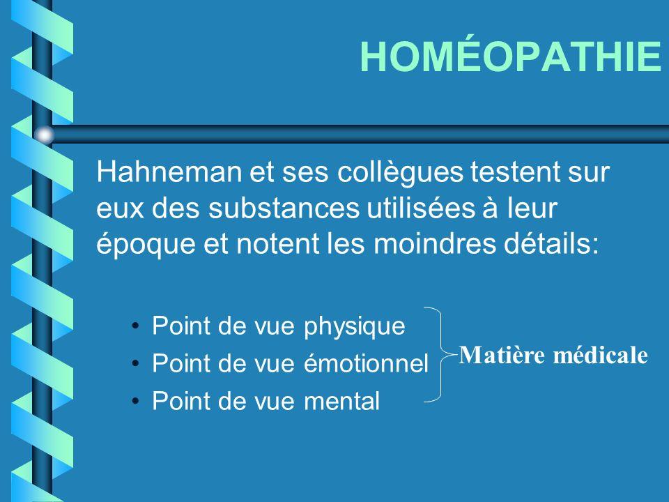 HOMÉOPATHIE Hahneman et ses collègues testent sur eux des substances utilisées à leur époque et notent les moindres détails: Point de vue physique Poi