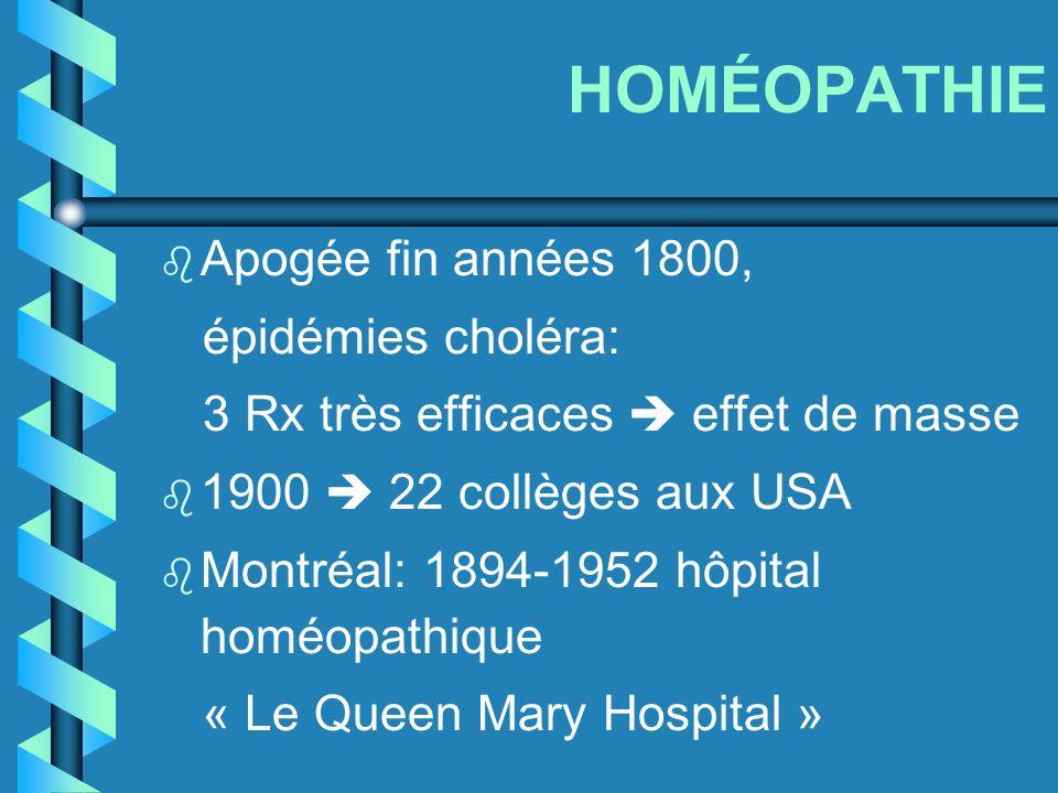 HOMÉOPATHIE b Apogée fin années 1800, épidémies choléra: 3 Rx très efficaces effet de masse b 1900 22 collèges aux USA b Montréal: 1894-1952 hôpital h