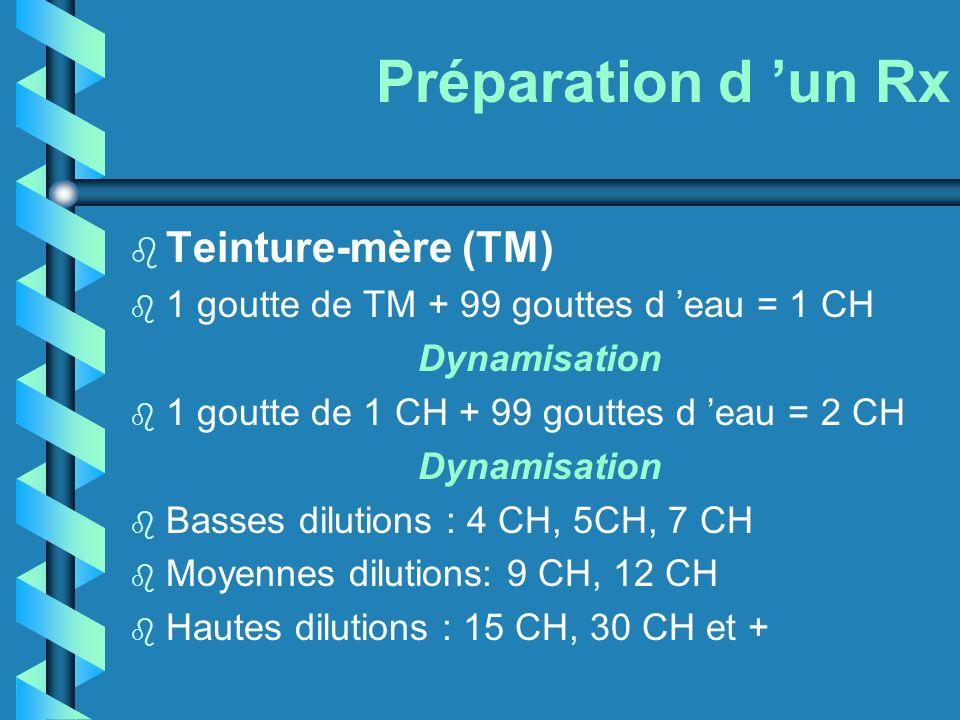 Préparation d un Rx b Teinture-mère (TM) b 1 goutte de TM + 99 gouttes d eau = 1 CH Dynamisation b 1 goutte de 1 CH + 99 gouttes d eau = 2 CH Dynamisa