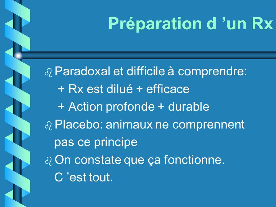 Préparation d un Rx b Paradoxal et difficile à comprendre: + Rx est dilué + efficace + Action profonde + durable b Placebo: animaux ne comprennent pas