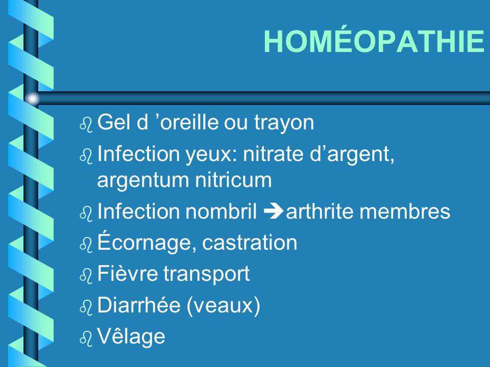 HOMÉOPATHIE b Gel d oreille ou trayon b Infection yeux: nitrate dargent, argentum nitricum b Infection nombril arthrite membres b Écornage, castration