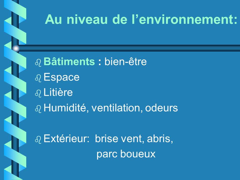 Au niveau de lenvironnement: b Bâtiments : bien-être b Espace b Litière b Humidité, ventilation, odeurs b Extérieur: brise vent, abris, parc boueux
