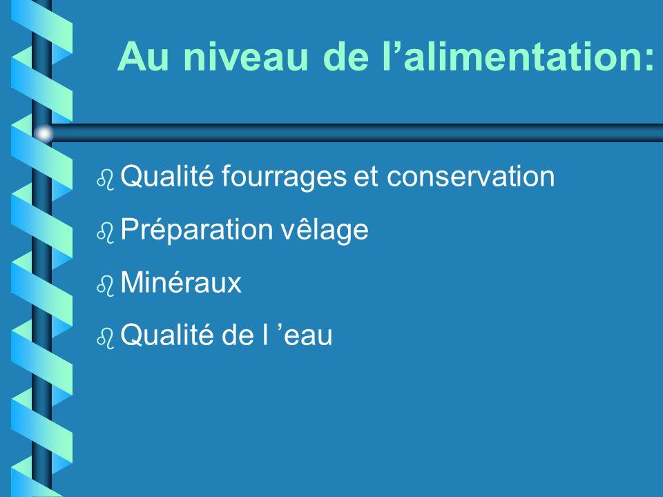 Au niveau de lalimentation: b Qualité fourrages et conservation b Préparation vêlage b Minéraux b Qualité de l eau
